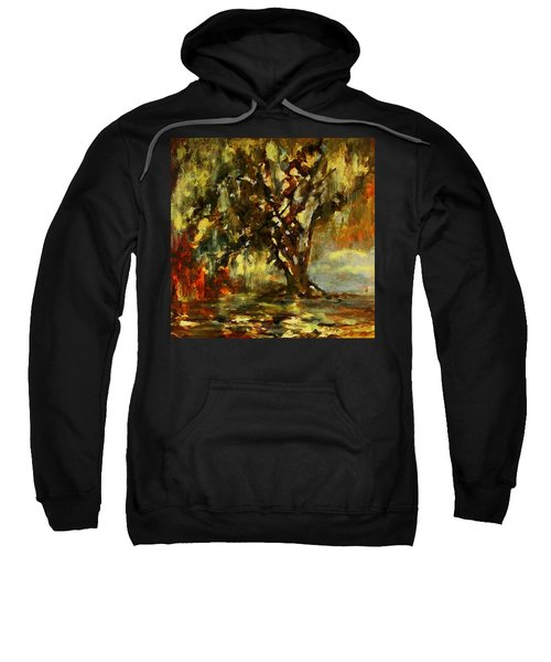 Light Through The Moss Tree Landscape Painting Sweatshirt