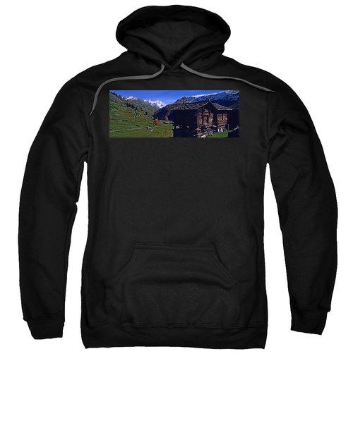 Log Cabins On A Landscape, Matterhorn Sweatshirt