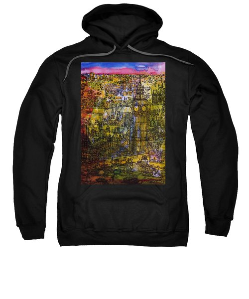 London, Westminster Pen & Ink With Wc On Paper Sweatshirt