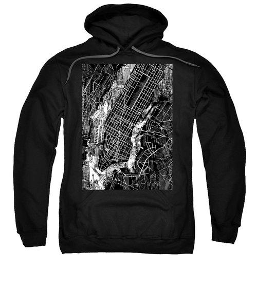 Manhattan Map Black And White Sweatshirt