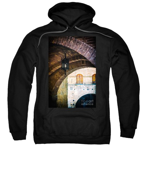 Sweatshirt featuring the photograph Medieval Arches With Lamp by Silvia Ganora