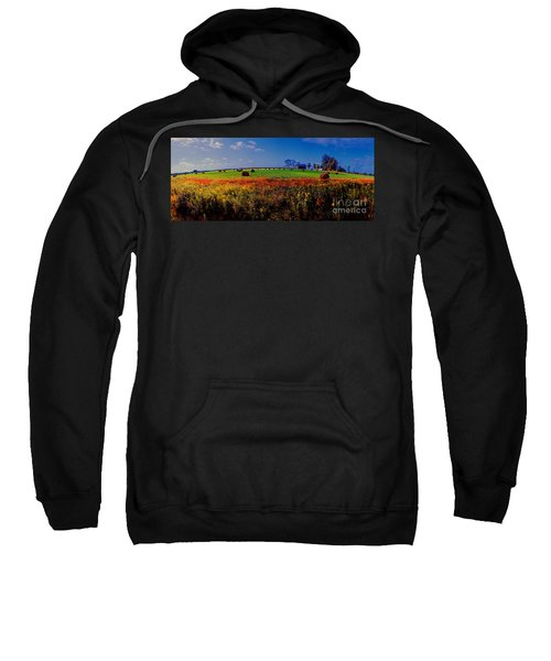 Michigan Uper  Farm Barn And Rolls Of Hay Brimly Michigan Sweatshirt