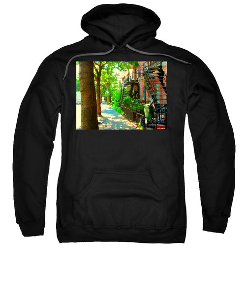 Montreal Art Colorful Winding Staircase Scenes Tree Lined Streets Of Verdun Art By Carole Spandau Sweatshirt