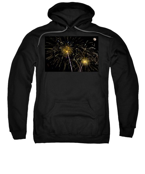Moon Over Golden Starburst- July Fourth - Fireworks Sweatshirt