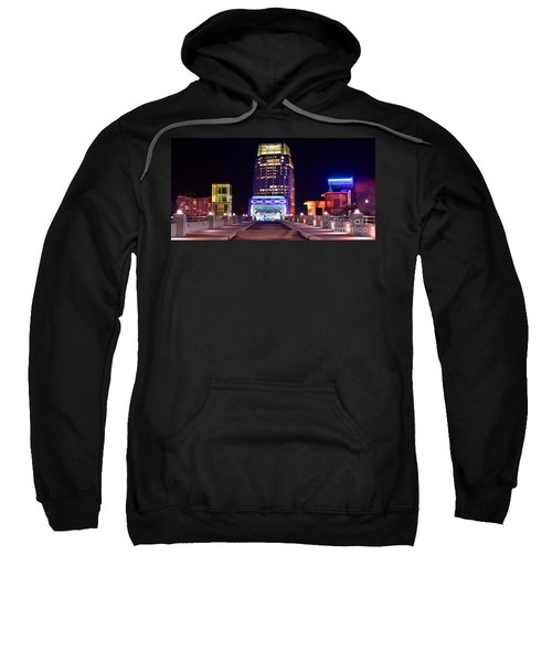 Nashville Sight Night Skyline Pinnacle Panorama Color Sweatshirt by Jon Holiday