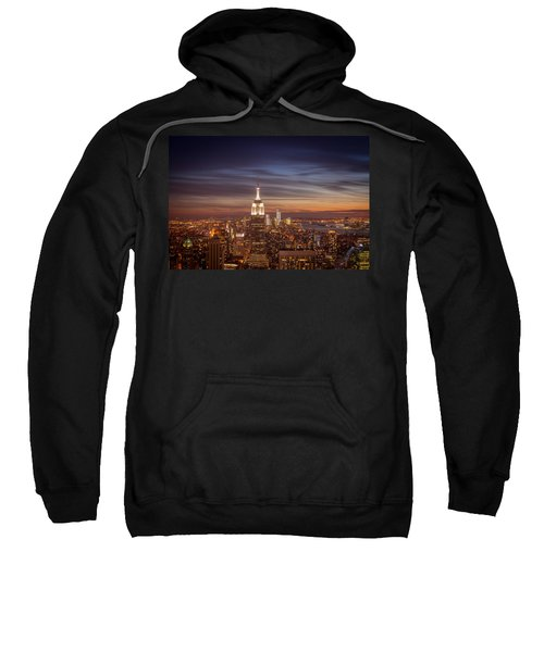 New York City Skyline And Empire State Building At Dusk Sweatshirt