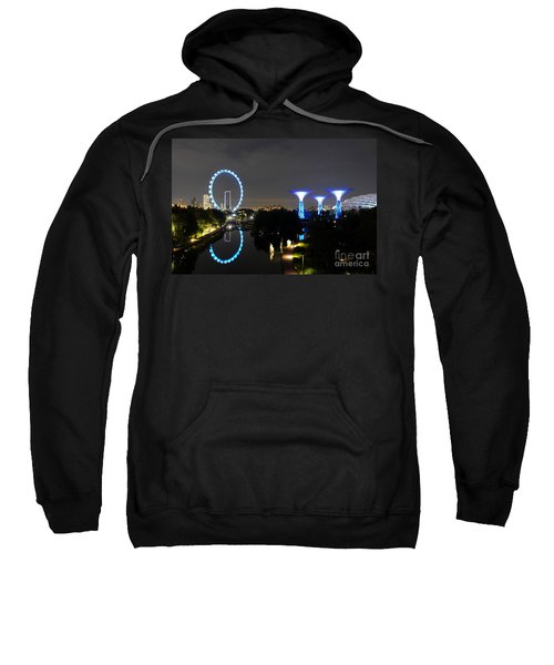 Night Shot Of Singapore Flyer Gardens By The Bay And Water Reflections Sweatshirt