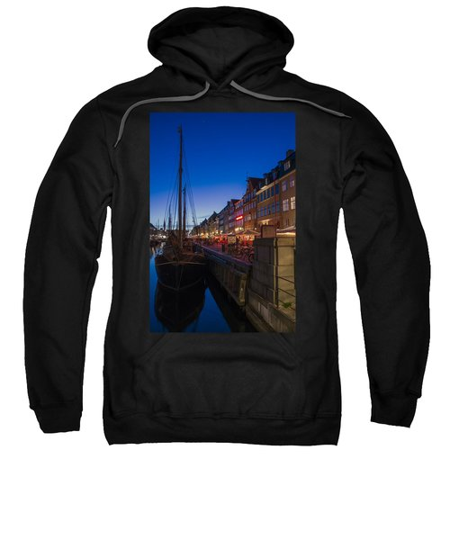 Sweatshirt featuring the photograph Nyhavn By Night Part 3 by Ross G Strachan