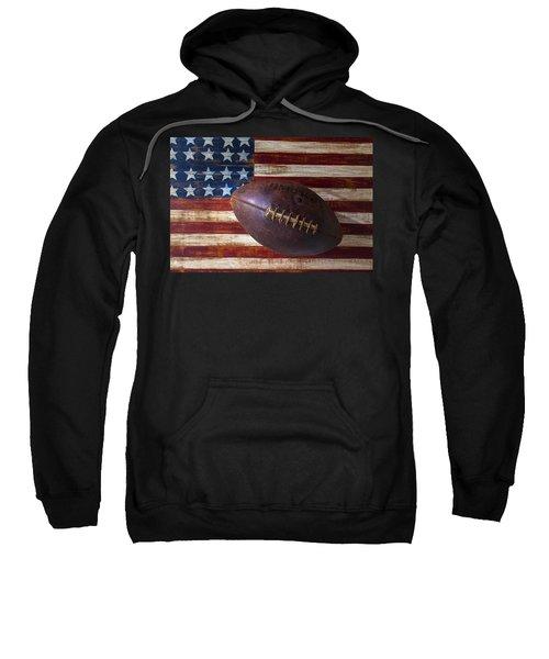 Old Football On American Flag Sweatshirt