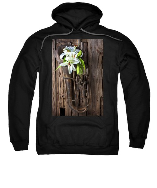 Old Tuba And White Lilies Sweatshirt