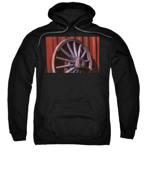 Old Wagon Wheel Leaning Against Barn Sweatshirt
