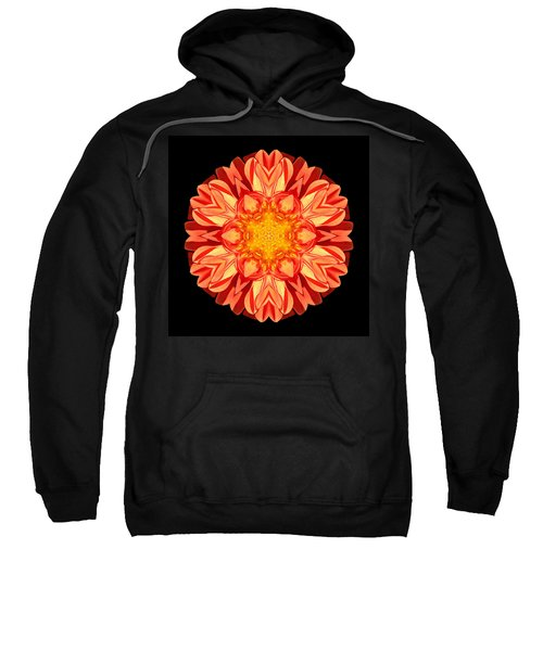 Orange Dahlia Flower Mandala Sweatshirt