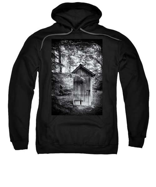 Outhouse In The Forest Black And White Sweatshirt