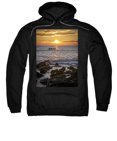 Paddlers At Sunset Portrait Sweatshirt