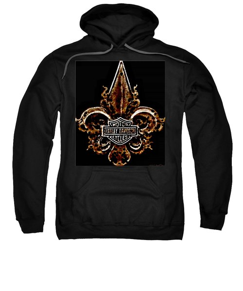 Perforated Brown Fleurs De Lys With Harley Davidson Logo  Sweatshirt