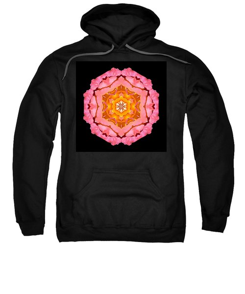 Pink And Orange Rose I Flower Mandala Sweatshirt