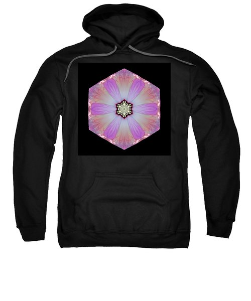 Pink And White Hibiscus Moscheutos I Flower Mandala Sweatshirt