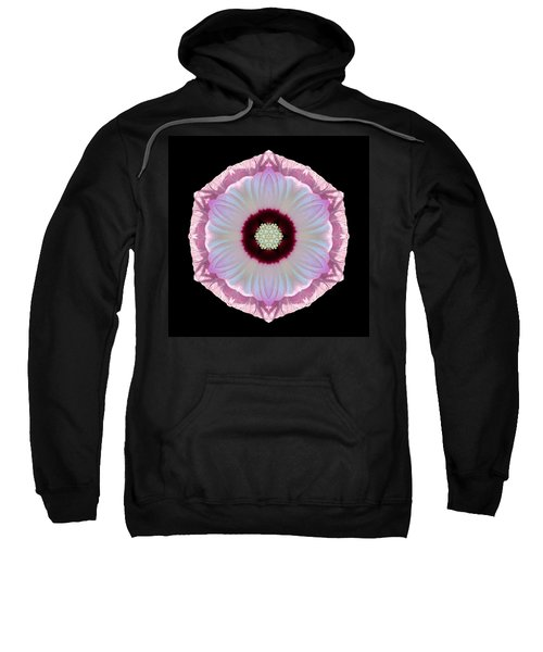 Pink And White Hibiscus Moscheutos Vii Flower Mandala Sweatshirt