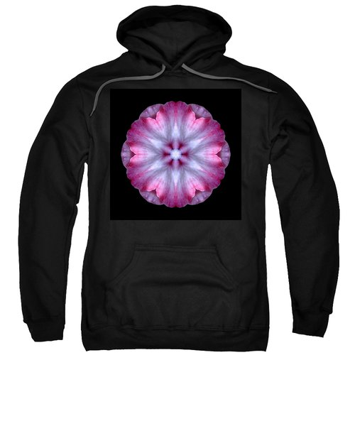 Pink And White Impatiens Flower Mandala Sweatshirt