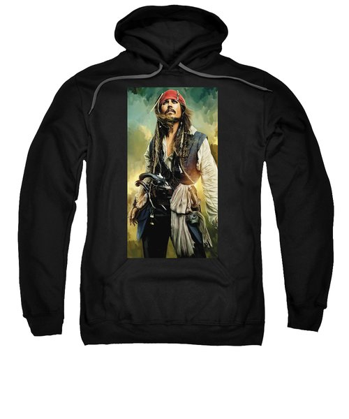Pirates Of The Caribbean Johnny Depp Artwork 1 Sweatshirt by Sheraz A
