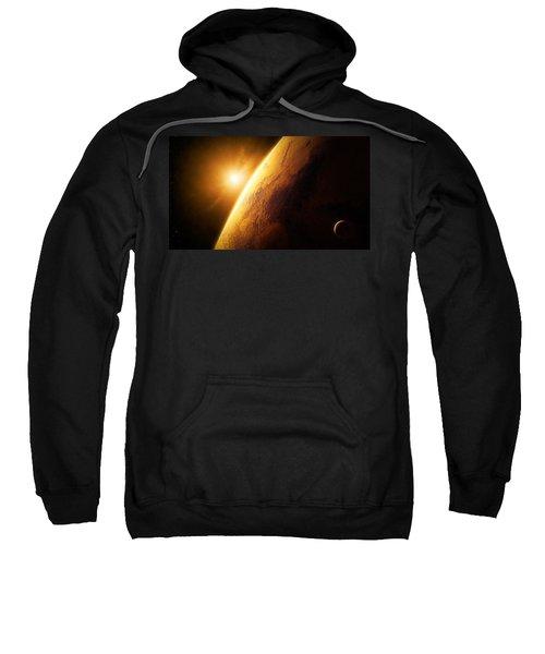 Planet Mars Close-up With Sunrise Sweatshirt