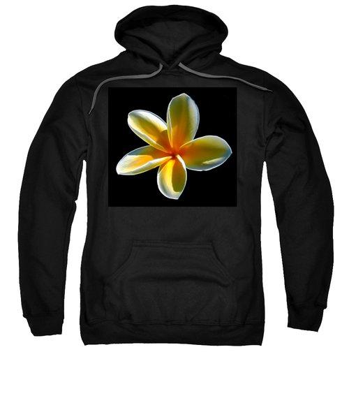 Plumeria Against Black Sweatshirt