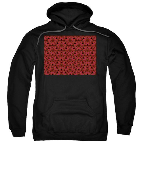 Sweatshirt featuring the digital art Poppy Sierpinski Triangle Fractal by Judi Suni Hall