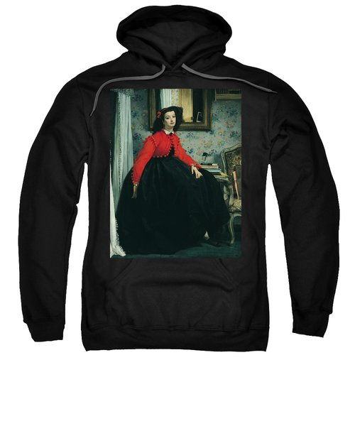 Young Lady In A Red Jacket Sweatshirt