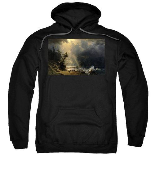 Sweatshirt featuring the painting Puget Sound On The Pacific Coast by Albert Bierstadt