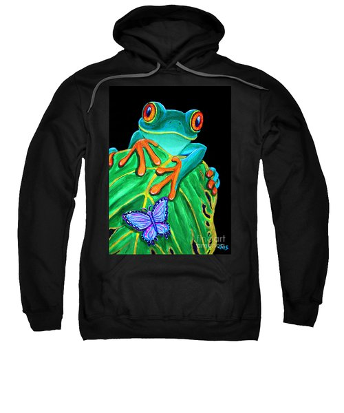 Red-eyed Tree Frog And Butterfly Sweatshirt