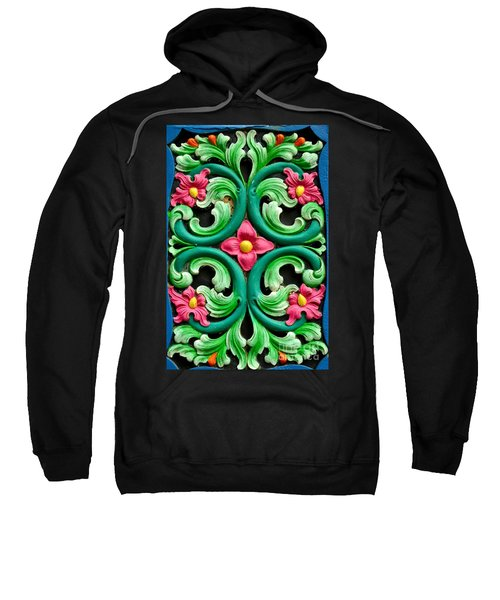 Red Green And Blue Floral Design Singapore Sweatshirt