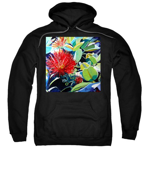 Red Ohia Lehua Flower Sweatshirt