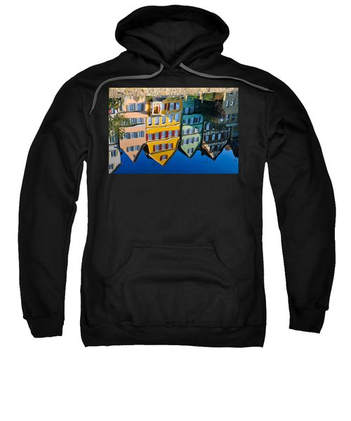 Reflection Of Colorful Houses In Neckar River Tuebingen Germany Sweatshirt