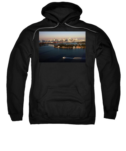 Retro Style Miami Skyline Sunrise And Biscayne Bay Sweatshirt