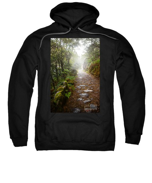 Rocky Trail In The Foggy Forest Sweatshirt