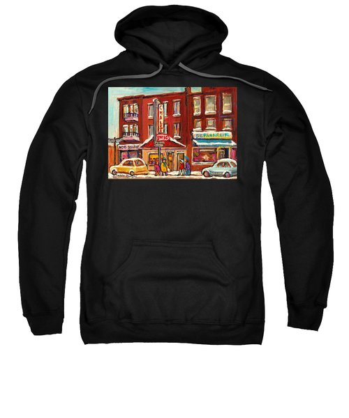 Rotisserie Le Chalet Bar B Q Sherbrooke West Montreal Winter City Scene Sweatshirt