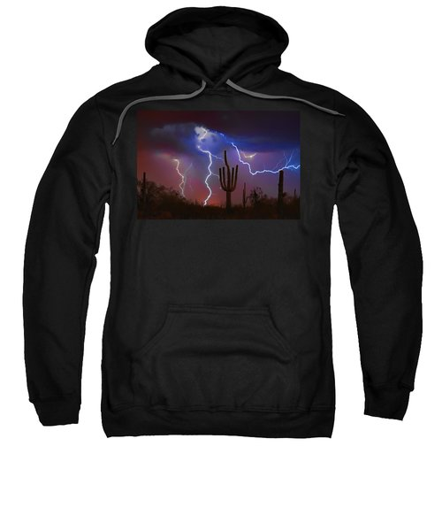 Saguaro Lightning Nature Fine Art Photograph Sweatshirt