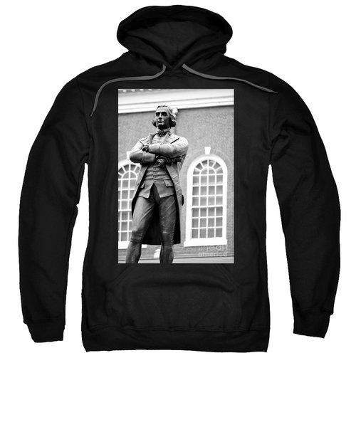 Samuel Adams Statue State House Boston Ma Black And White Sweatshirt
