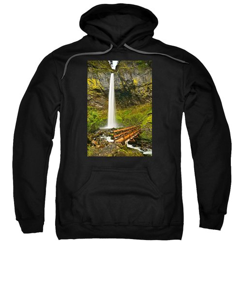 Scenic Elowah Falls In The Columbia River Gorge In Oregon Sweatshirt