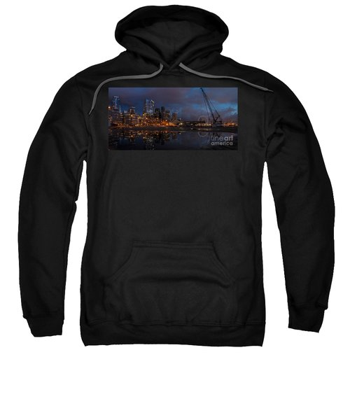 Seattle Night Skyline Sweatshirt by Mike Reid
