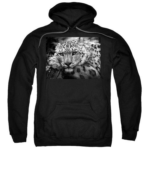 Snow Leopard In Black And White Sweatshirt