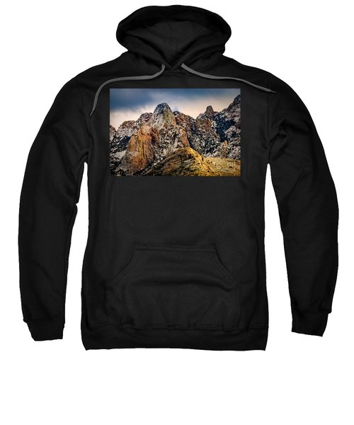 Sweatshirt featuring the photograph Snow On Peaks 45 by Mark Myhaver