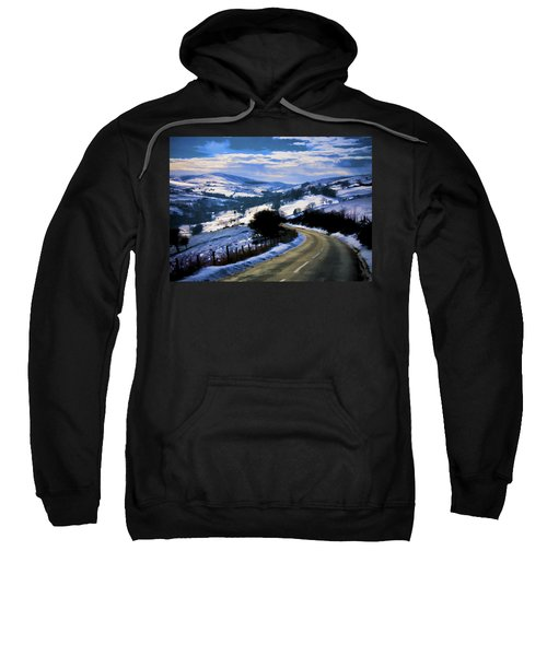 Snowy Scene And Rural Road Sweatshirt