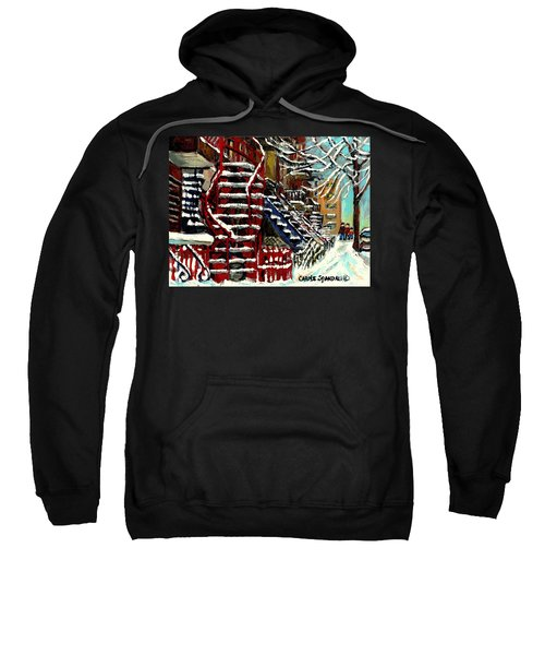 Snowy Steps The Red Staircase In Winter In Verdun Montreal Paintings City Scene Art Carole Spandau Sweatshirt