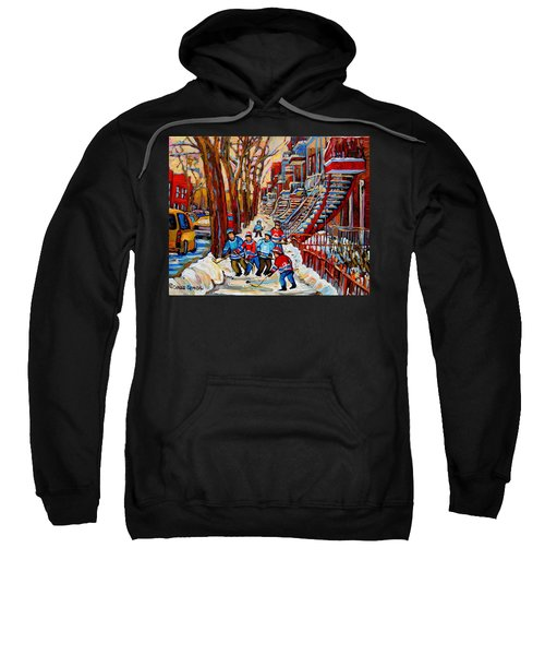 Streets Of Verdun Hockey Art Montreal Street Scene With Outdoor Winding Staircases Sweatshirt