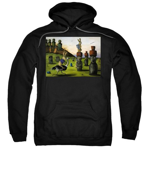 The Battle Over Easter Island Sweatshirt by Leah Saulnier The Painting Maniac