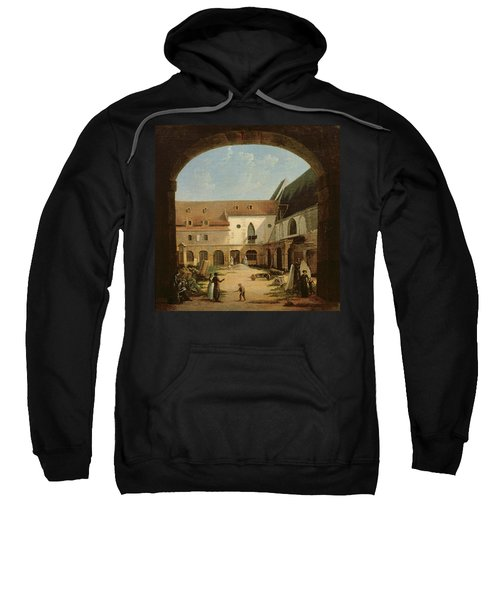 The Convent Courtyard Of Petits-augustins In Paris, C.1818 Oil On Canvas Sweatshirt