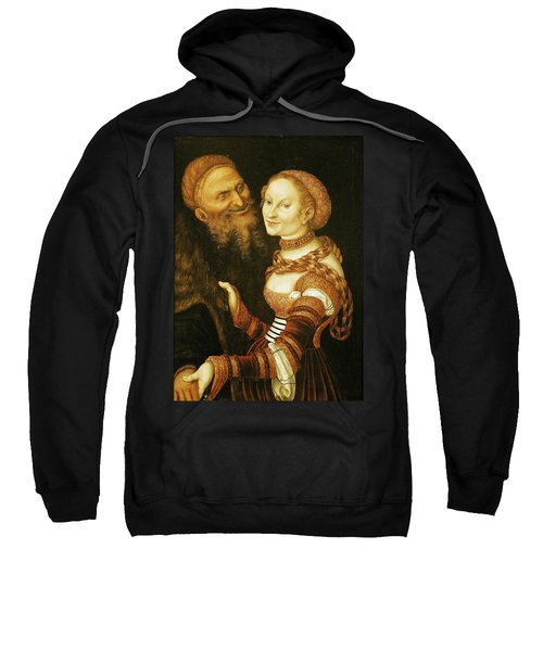 The Courtesan And The Old Man, C.1530 Oil On Canvas Sweatshirt