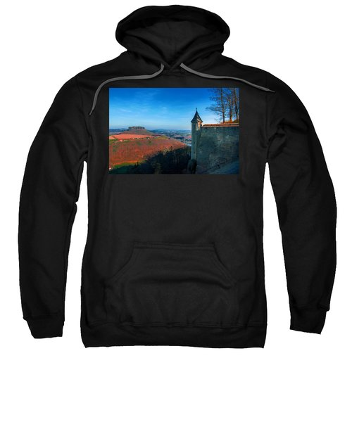 The Lilienstein Behind The Fortress Koenigstein Sweatshirt