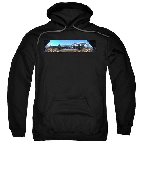 The Old And New Yankee Stadiums Panorama Sweatshirt by Nishanth Gopinathan